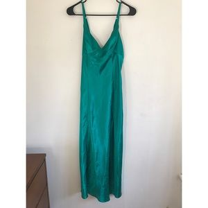 Fredrick's of Hollywood green slip with high slit